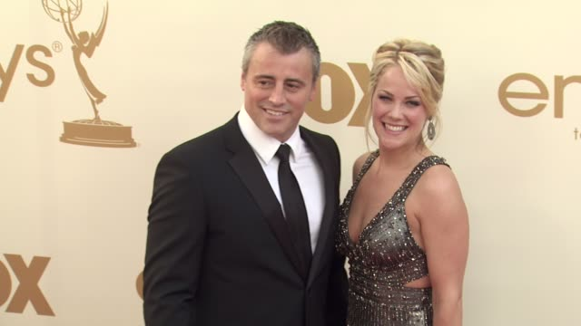 matt leblanc and andrea anders at the 63rd primetime emmy awards arrivals part 2 at los angeles ca - matt leblanc stock videos and b-roll footage