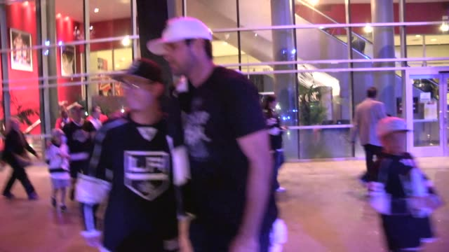 Matt Leinart greets a fan departing the LA Kings vs NY Rangers Game 5 Stanley Cup Finals at the Staples Center in Los Angeles Celebrity Sightings in...
