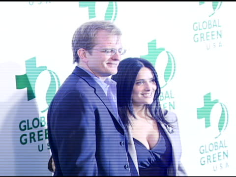 vídeos de stock, filmes e b-roll de matt petersen ceo of global green usa and salma hayek at the global green usa's 5th annual preoscar party at null in hollywood california on february... - global green usa