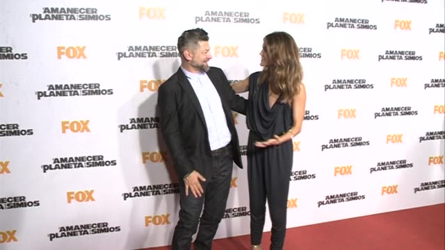 matt reeves, keri russell and andy serkis attend the 'dawn of the planet of the apes' in madrid - planeta点の映像素材/bロール