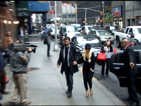matt rutler and christina aguilera arrive at the 'late show with david letterman' in new york 05/16/11 - christina aguilera stock videos & royalty-free footage