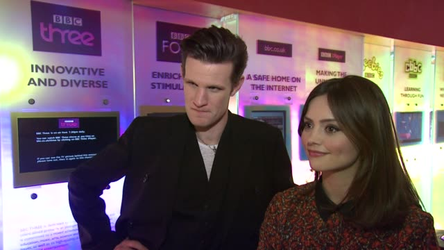 INTERVIEW Matt Smith and Jenna Louise Coleman on Jenna not being a Doctor Who fan at the Doctor Who Cast Discuss Christmas Special 2012 BBC...
