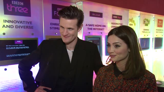 INTERVIEW Matt Smith and Jenna Louise Coleman on the budget of the TV series at the Doctor Who Cast Discuss Christmas Special 2012 BBC Television...