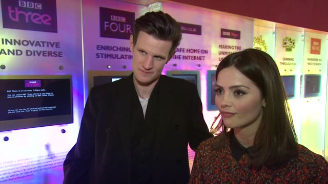 INTERVIEW Matt Smith and Jenna Louise Coleman on what they stole from the set at the Doctor Who Cast Discuss Christmas Special 2012 BBC Television...