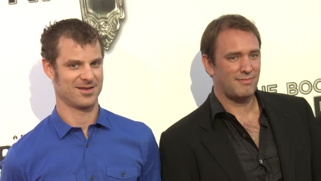 matt stone trey parker at the book of mormon los angeles opening night on 9/12/12 in los angeles ca - trey parker stock videos & royalty-free footage
