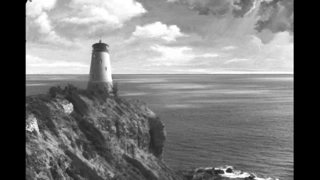 matte shot lighthouse overlooking seacoast on january 01 1940 - matte image technique stock videos & royalty-free footage