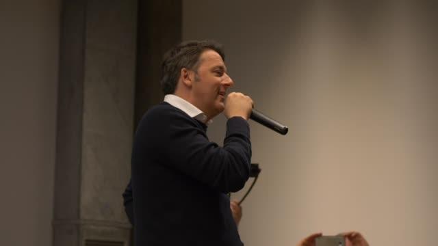 Matteo Renzi talking at the crowd of over 600 people in Faenza EmiliaRomagna Italy March 2019 Italian Senator of the Republic Matteo Renzi was...