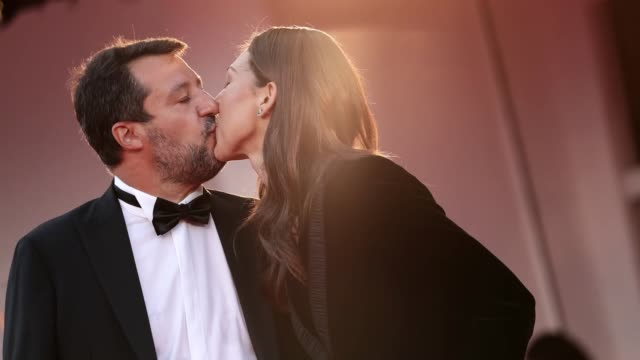 venice italy september 04 matteo salvini and francesca verdini walk the red carpet ahead of the movie padrenostro at the 77th venice film festival at... - gif stock videos & royalty-free footage