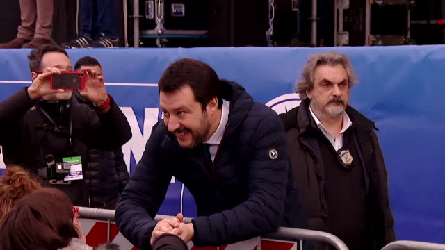 Matteo Salvini of the La Lega party greeting supporters in Milan Italy