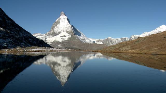 Matterhorn mountain reflecting in lake