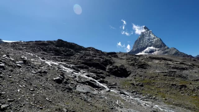 matterhorn viewed from swiss mountain cable car, switzerland - ripido video stock e b–roll