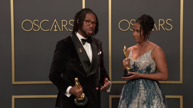 """matthew a. cherry and karen rupert toliver of """"hair love"""" at the 92nd annual academy awards - press room at dolby theatre on february 09, 2020 in... - the dolby theatre stock videos & royalty-free footage"""
