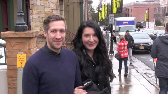 matthew akers and marina abramovic at celebrity sightings in park city on 1/20/2012 in park city ut - マリーナ アブラモヴィッチ点の映像素材/bロール