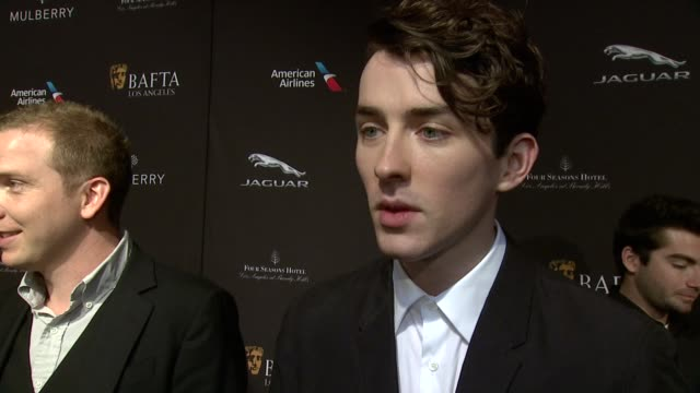 interview matthew beard on being at the event on what makes the bafta tea party one of the most prestigious events of the weekend and on getting... - tea party stock videos and b-roll footage