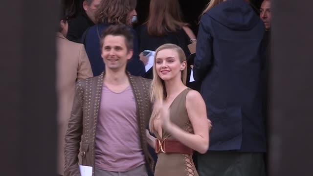 Matthew Bellamy and Elle Evans at Balmain Chloé Paris Fashion Week Pret a Porter 2016 on March 3 2016