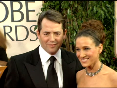matthew broderick and sarah jessica parker at the 2006 golden globe awards arrivals at the beverly hilton in beverly hills california on january 16... - matthew broderick stock videos & royalty-free footage