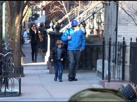 matthew broderick and son james in the west village at the celebrity sightings in new york at new york ny - matthew broderick stock videos & royalty-free footage
