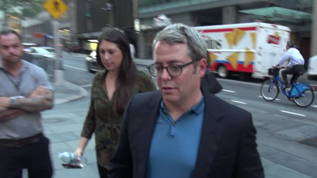 matthew broderick from 'dirty weekend' arrives at the 'today' show signs for fans in celebrity sightings in new york - matthew broderick stock videos & royalty-free footage