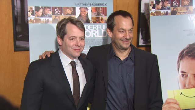 vídeos y material grabado en eventos de stock de matthew broderick joshua goldin at the 'wonderful world' premiere at west hollywood ca - west hollywood