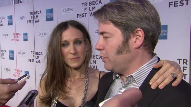 matthew broderick on playing a negative guy and on working with josh goldin sarah jessica parker on supporting her husband at the 8th annual tribeca... - sarah parker stock videos & royalty-free footage