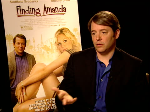 matthew broderick on what the movie is about at the finding amanda press junket at new york ny - matthew broderick stock videos & royalty-free footage