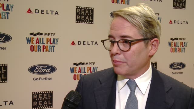 interview matthew broderick on why he wanted to be here the importance of taking care of your peers and talks about the story he will be reading at... - matthew broderick stock videos & royalty-free footage
