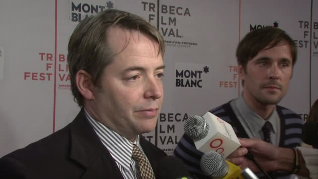 matthew broderick talking about getting into his character being at the tribeca film festival his wife sarah jessica parkers upcoming film sex and... - matthew broderick stock videos & royalty-free footage