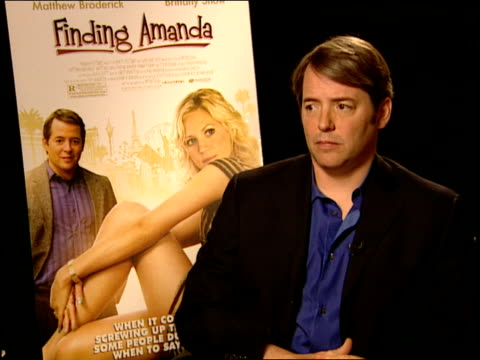 matthew broderick talks about what messages the audience might get from this film at the finding amanda press junket at new york ny - matthew broderick stock videos & royalty-free footage