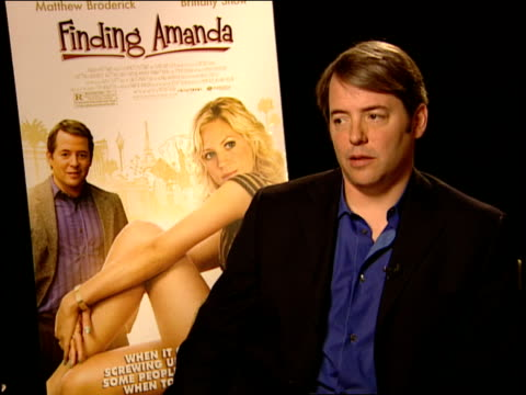 matthew broderick talks about whether or not he can tell if a movie is gonna be a hit or a bust at the finding amanda press junket at new york ny - matthew broderick stock videos & royalty-free footage
