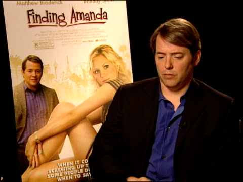 matthew broderick talks about working with brittany snow how she was a bright energy and a great talent at the finding amanda press junket at new... - matthew broderick stock videos & royalty-free footage