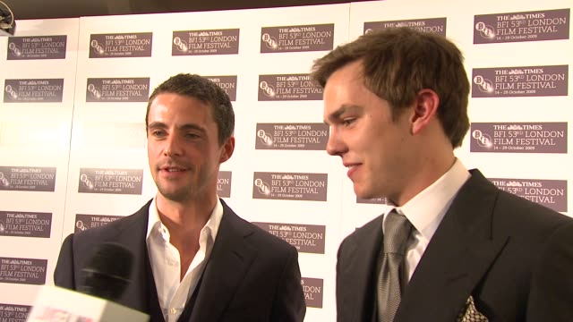matthew goode and nicholas hoult on getting to keep the clothes at the a single man premiere london film festival at london england - matthew goode stock videos & royalty-free footage