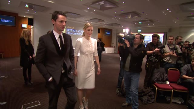 matthew goode and romola garai at the 2010 orange bafta nominations at london england - matthew goode stock videos & royalty-free footage