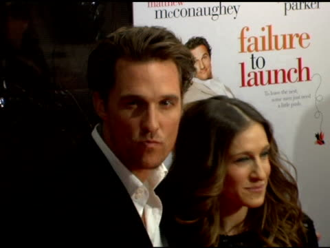 matthew mcconaughey and sarah jessica parker at the 'failure to launch' new york premiere at chelsea west in new york, new york on march 8, 2006. - failure to launch stock videos & royalty-free footage