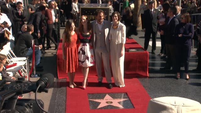 matthew mcconaughey anne hathaway jessica chastain and mackenzie foy at matthew mcconaughey honored with a star on the hollywood walk of fame in los... - mackenzie foy stock videos & royalty-free footage