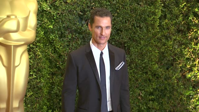 matthew mcconaughey at academy of motion picture arts and sciences' governors awards in hollywood ca on - 映画芸術科学協会点の映像素材/bロール