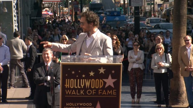 SPEECH Matthew McConaughey at Matthew McConaughey Honored With a Star On The Hollywood Walk Of Fame in Los Angeles CA on
