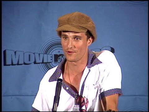 Matthew McConaughey at the 1997 MTV Movie Awards press room at Barker Hanger in Santa Monica California on June 7 1997