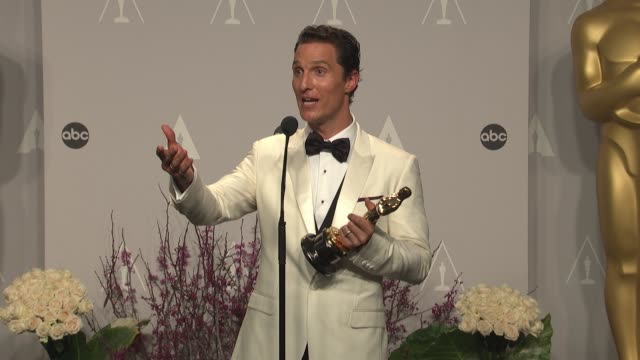 matthew mcconaughey at the 86th annual academy awards - press room at hollywood & highland center on march 02, 2014 in hollywood, california. - academy awards stock-videos und b-roll-filmmaterial