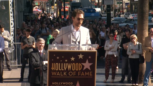 chyron matthew mcconaughey honored with a star on the hollywood walk of fame in los angeles ca on - mackenzie foy stock videos & royalty-free footage