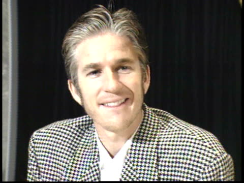 matthew modine talking to reporters on red carpet - friars roast 1993 stock videos and b-roll footage