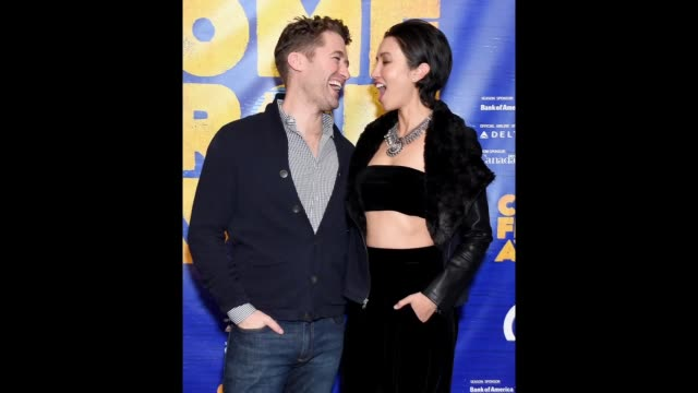"""stockvideo's en b-roll-footage met matthew morrison and wife renee puente arrive at the """"come from away"""" opening night performance at ahmanson theatre on november 28, 2018 in los... - puente"""