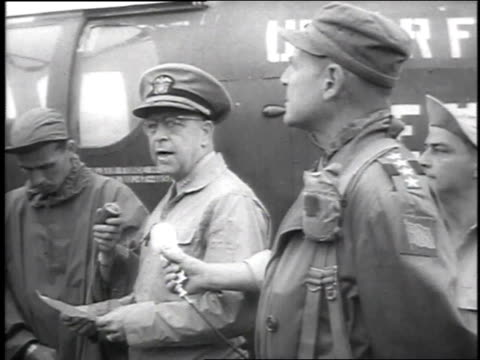 matthew ridgway and others outside of helicopter / matthew ridgway and others boarding helicopter - 1951 stock videos & royalty-free footage