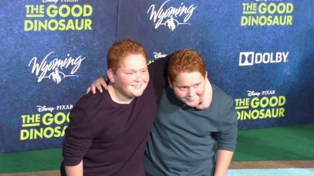 matthew royer & benjamin royer at the good dinosaur premiere at el capitan theatre in hollywood on november 17, 2015 in los angeles, california. - el capitan theatre stock videos & royalty-free footage
