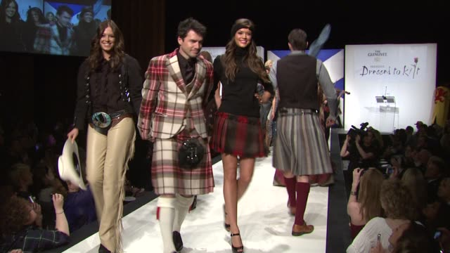 matthew settle, nicola mimnag and models at the 9th annual dressed to kilt charity fashion show at new york ny. - kilt stock videos & royalty-free footage