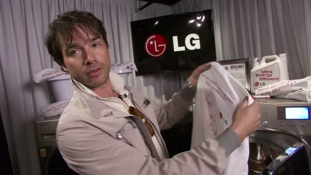matthew settle talks about his spin on 'going green'. at the lg helps great white way go 'green' at tony's at new york ny. - interview raw footage stock videos & royalty-free footage