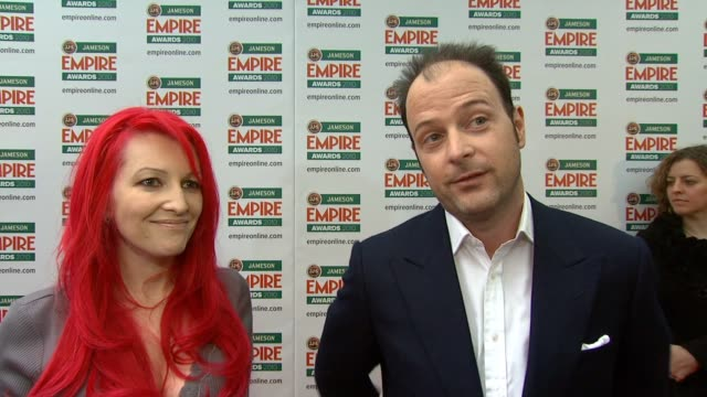 matthew vaughn jane goldman on getting good reviews for the kick ass on the awards being voted by the public on the awards being less fashion driven... - kick ass film title stock videos & royalty-free footage