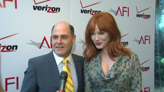 interview matthew weiner and christina hendricks on 'mad men' being honored by afi at the 13th annual afi awards luncheon in beverly hills ca on... - christina hendricks stock videos and b-roll footage