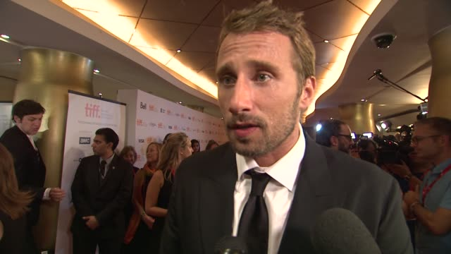 interview matthias schoenaerts on his character working with the cast and having the film premiere at tiff the drop premiere toronto international... - toronto international film festival stock videos and b-roll footage