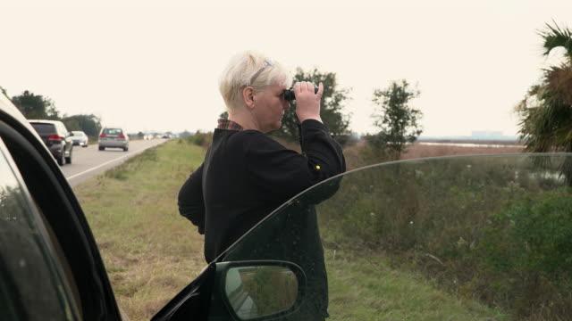 vídeos de stock, filmes e b-roll de maduro 45-years-old corpo-positivo atrativo mulher caucasiano-branca que presta atenção a pássaros com os binóculos em um pântano perto de uma estrada em south carolina, eua, no inverno. - body positive