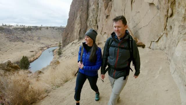 mature adult couple exploring eastern oregon - oregon us state stock videos & royalty-free footage